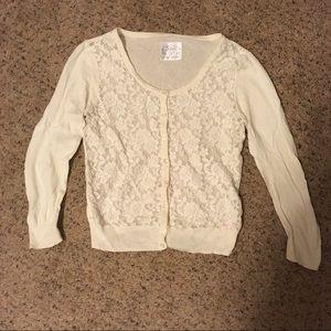 Cream lace 3/4 sleeve Justice cardigan sweater